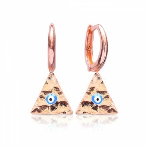 Σκουλαρίκι κρίκος 925 mini loop hammered evil eye rose gold
