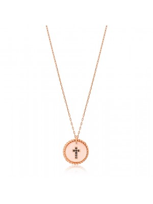 Rocking Cross Rose Gold Necklace