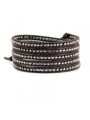Βραχιόλι leather 5wrap multi metal brown