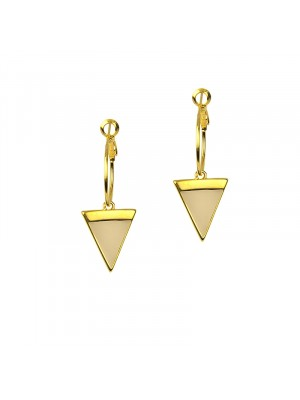 Σκουλαρίκι midi enamel triangle gold