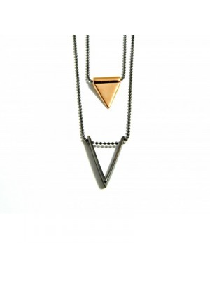 Κολιέ double triangle rose gold