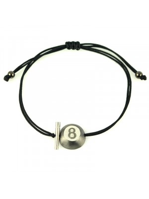 Βραχιόλι bracelet lucky silver 8ball charm black