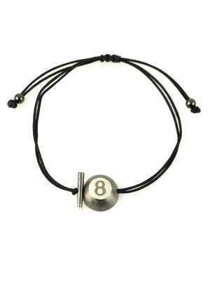 Βραχιόλι bracelet lucky black 8ball charm black