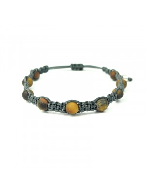 Βραχιόλι macrame shamballa tiger eye matte grey
