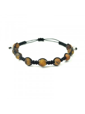 Βραχιόλι macrame shamballa tiger eye matte black