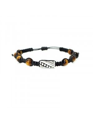 Βραχιόλι macrame tiger eye black with metal element