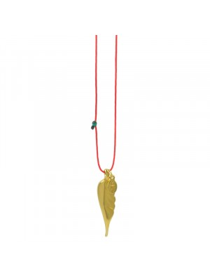Κολιέ funky feather gold red