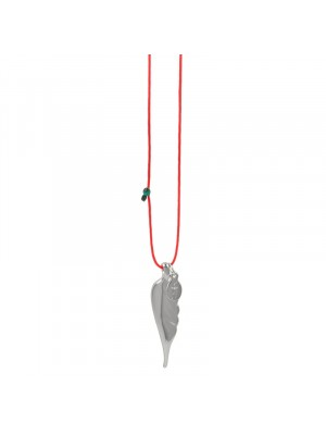 Κολιέ funky feather silver red