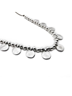 Chunky charm oval necklace silver κολιέ
