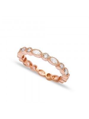 Oval Stone Ring Rose Gold