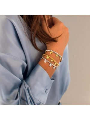 Chunky charm bracelet gold and silver βραχιόλι