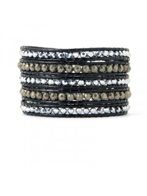 Βραχιόλι leather 5wrap multi stones black