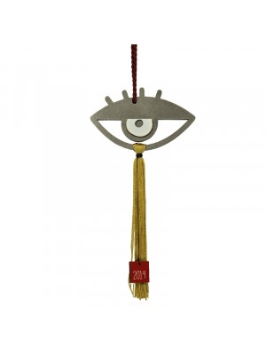 Γούρι σπιτιού 2019 evil eye lashes home charm grey mustard