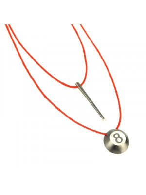 Κολιέ lucky 8ball charm necklace red