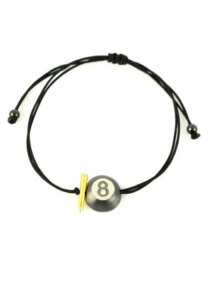 Βραχιόλι bracelet lucky gold 8ball charm black