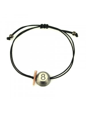 Βραχιόλι bracelet lucky rose gold 8ball charm black