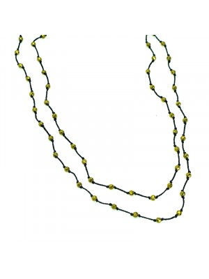 Κολιέ beaded love hemmatite black gold