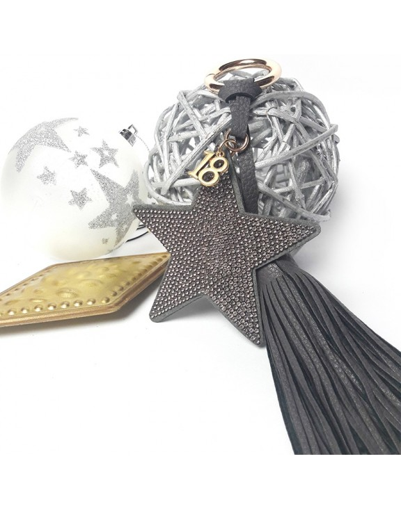 Μπρελόκ grey star leather key chain