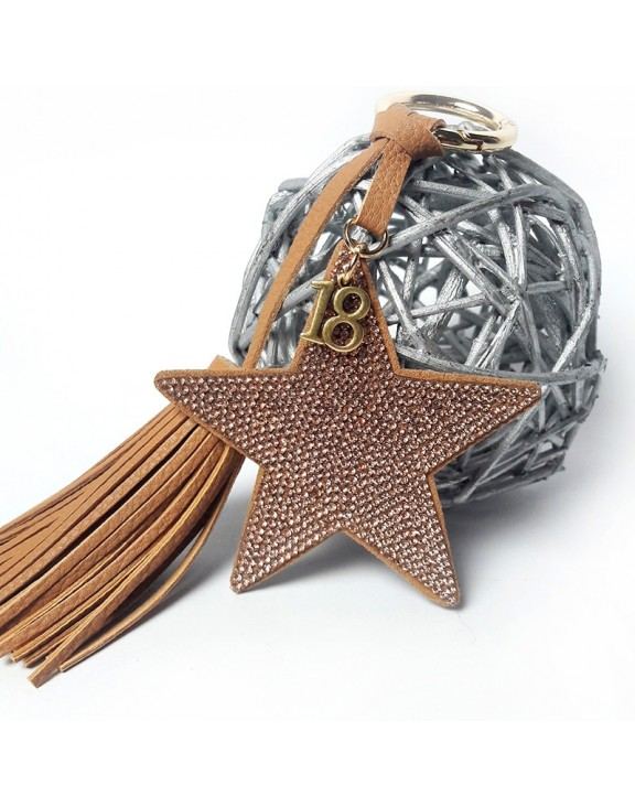 Μπρελόκ brown star leather key chain
