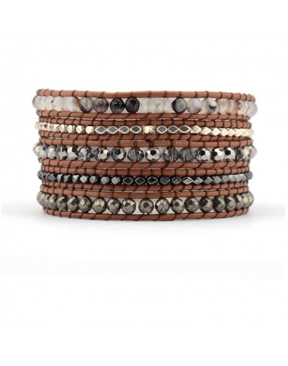 Βραχιόλι leather 5wrap multi stones brown