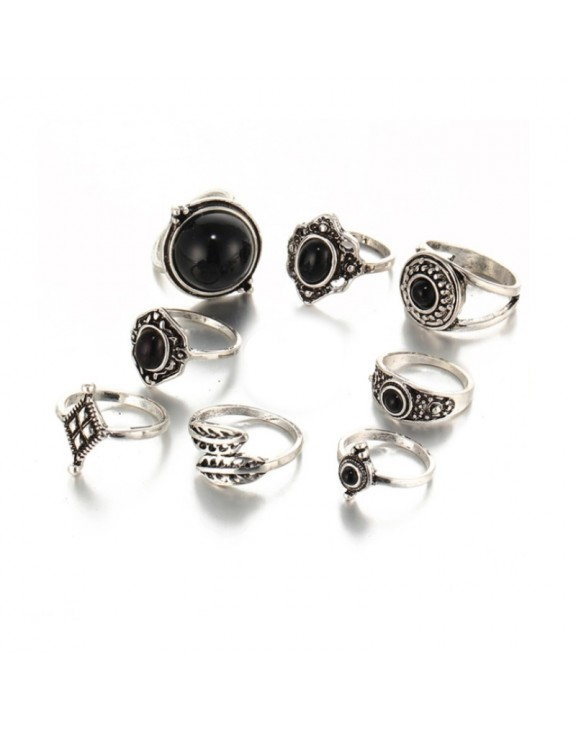 Boho set knuckle silver color