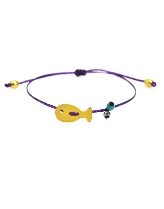 Βραχιόλι funky fish gold purple