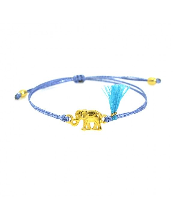 Βραχιόλι funky elephant gold light blue