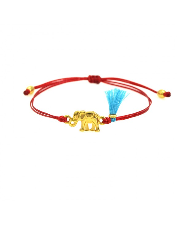 Βραχιόλι funky elephant gold red