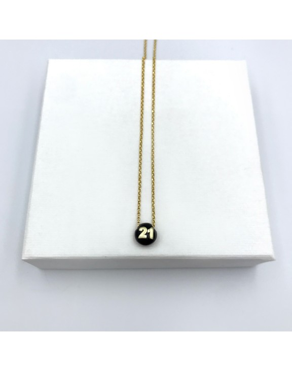 21 chain necklace black gold