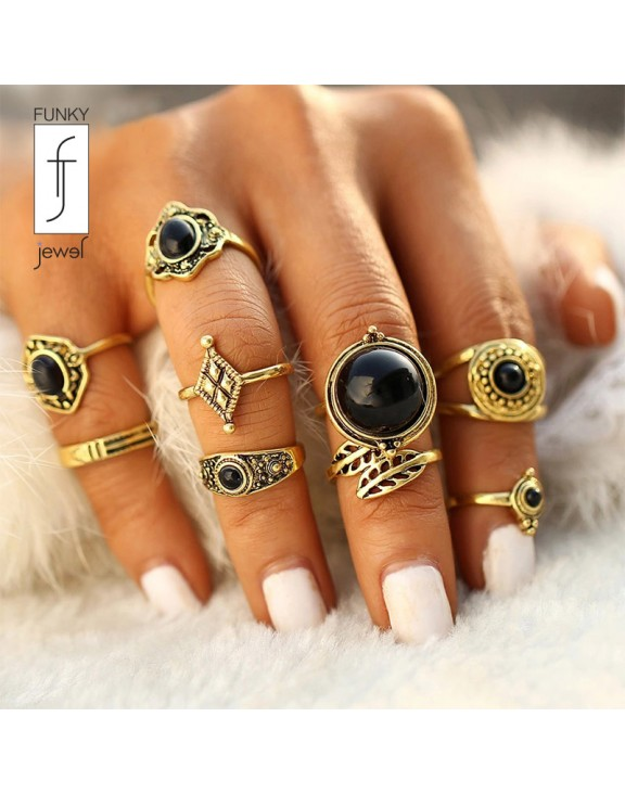 Boho set knuckle gold color