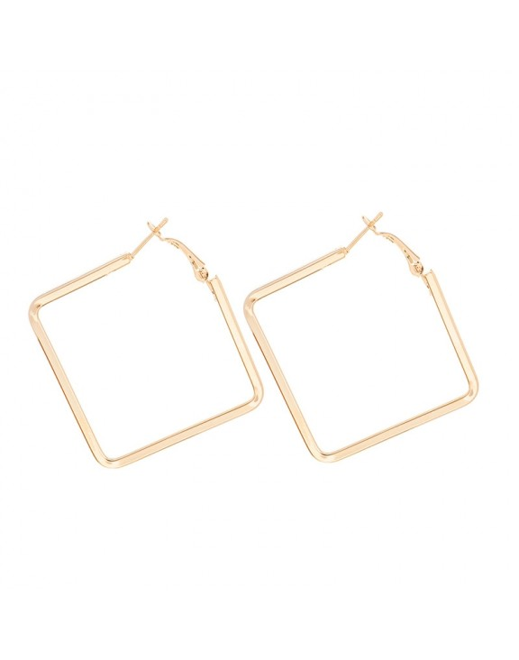 Σκουλαρίκι Square loop medium rose gold